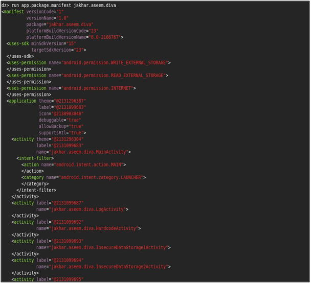 Getting AndroidManifest.xml File fromDrozer