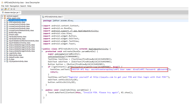 User Credentials and API Key in Source Code