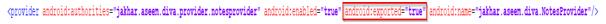exported=true (content provider)